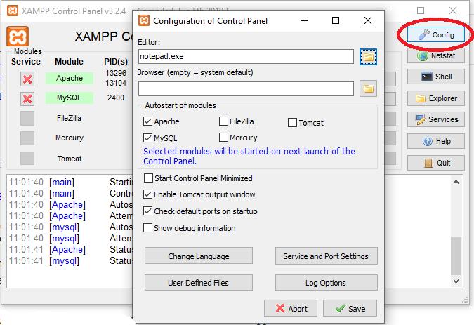 configuracion general de Xampp